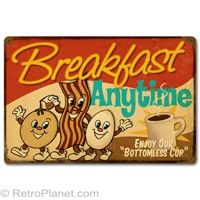 Breakfast Anytime Tin Sign - Love this, perfect for the kitchen with the rest of the coffee tin signs.  This website full of fun vintage swag.