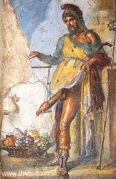 Priapus weighing his phallus