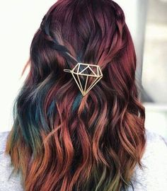 47 Adorable Hair Color Ideas For This Winter To Try 47 adorable Haarfarbe Ideen für diesen Winter, um zu versuchen, Cute Hair Colors, Hair Dye Colors, Cool Hair Color, Unique Hair Color, Spring Hair Colour, Autumn Hair Colors, Rainbow Hair Colors, Hair Colour Ideas, Oil Slick Hair Color