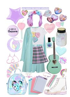 A fashion look from March 2017 featuring cut-out crop tops, light weight cardigan and bubble skirt. Browse and shop related looks. Cute Emo Outfits, Pastel Goth Outfits, Pastel Goth Fashion, Pastel Outfit, Cute Outfits For Kids, Kawaii Fashion, Cute Fashion, Trendy Outfits, Harajuku Fashion