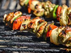 An easy #marinade for the #grill: cilantro and lime chicken fajita kebabs.