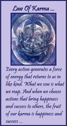 Law of Karma - every action generates a force of Energy that returns to us in like kind. What we sow is what we reap. When we choose actions that bring Happiness and Success to others, the fruit of our Karma is Happiness and Success ..