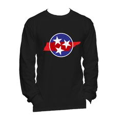 Show your pride of the Tennessee Tri-Star with this Blue & Red print men's long sleeve t-shirt! Shirt is a super soft Next Level 60% cotton/40% polyester jersey. Sizes small-2XL. Perfect to show your Tennessee pride!! #MyTennessee $29.00