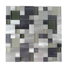 Fine Living Products New Age Random Glass Aluminum Blend Mosaic Tile in Emerald