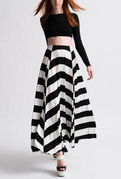 Nadia Tarr - Black and White Mod Stripe 3/4 Skirt with Black crop