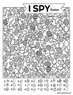 Free Printable I Spy Easter Activity - Paper Trail Design Easter themed I spy activity for kids! Keep kids busy and screen free when your kids say I'm bored or on a rainy day with this free printable. Home Learning, Learning Activities, Kids Learning, Teaching Ideas, Toddler Activities, Preschool Activities, Easter Activities For Kids, Easter Games, Easter Crafts