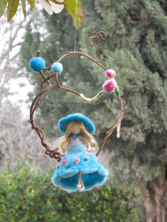 Needle felted Waldorf inspired Magic fairy Mobile door Made4uByMagic