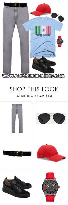 """""""rooted collections - OOTD #48"""" by rootedcollections on Polyvore featuring Armani Jeans, Bally, Yves Saint Laurent, Lacoste, Giuseppe Zanotti, Diesel, men's fashion, menswear, ootd and mexico"""