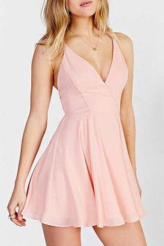 Lovely Pink V Neck Homecoming Dress,Simple Short Open Back Prom Party Dress,Skater Dresses OK359