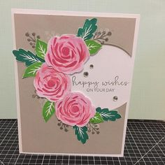 Happy Wishes on your day card: Close To My Heart Hello Lovely - Scrapbooking (D1713), Cricut® Flower Market Collection Sentiment stamp set. Circle cut out with Basic Circles Thin Cuts (Z3318) #CTMH www.maz.closetomyheart.com.au
