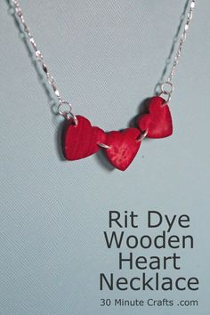 RIT Dye Wooden Heart Necklace
