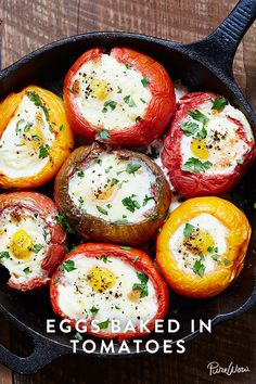 "Before you go and make an omelet, consider this ""eggs baked in tomatoes"".  Ready to see how it's done? Good. You're one step closer to a non-boring breakfast -- or dinner, if you're into that sort of thing.  It is A Breakfast that's worth the trip from bed, or A Dinner that's worth the trip to bed!"