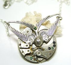 Steampunk Necklace Silver Bird Pendant Time Travel by DesignsBloom, $37.50