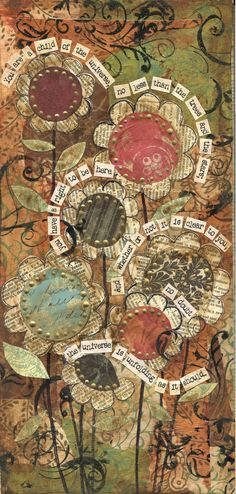 """Desiderata Mixed Media Collage""   6"" x 12"" on Gallery Wrapped Canvas  SOLD   I have always loved the poem Desiderata and I have a poster..."