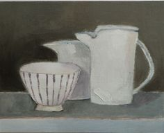 Cathy Cullis, Still Life with Striped Bowl, painting on linen