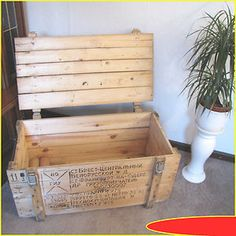 Holzkiste Weinkiste Truhe Bank Möbel Sitzbank Tisch Shabby Chick Vintage  3.Wahl | EBay