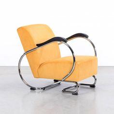 De Dikkert retro buisframe fauteuil met Manchester ribstof 8 geel