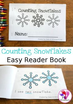 Free Counting Snowflake Number Easy Reader Book - numbers 1 to 10 in a fun easy to use book Kindergarten Literacy, Preschool Classroom, Classroom Activities, Number Activities, Preschool Songs, Teaching Activities, Literacy Centers, Teaching Ideas, Winter Fun