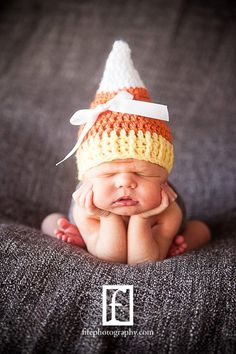 Crochet Baby Candy Corn Hat  Halloween by sunshinenserendipity