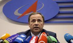 Russian Space Agency (Roscosmos) head Igor Komarov speaks during a press conference on Progress 59.
