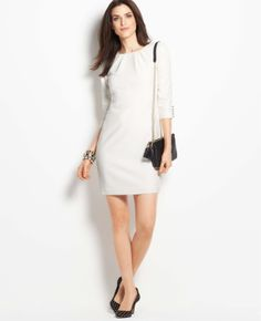 3/4 Button Sleeve Shift Dress | Ann Taylor $149