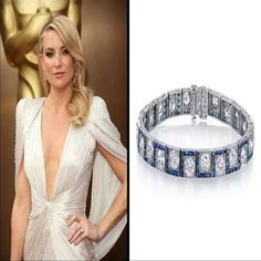 @katehudson  who has the girl-next-door type of beauty looked very Old Hollywood glam in this throwback from her 2014 Academy Award ensemble  and looking on point too! Kate wore a caped Atelier Versace gown for the event paired with flowing hairstyle. Her jeweler of choice for the night is Neil Lane. To complete the Old Hollywood glam she wore a platinum and 10 carat diamond drop earrings platinum and faceted crystal ring and a platinum bracelet with sapphire and diamonds.  Platinum jewelry…