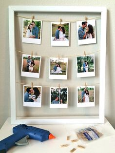 The Everyday Aesthetic: DIY: Clothesline Picture Frame # DIY Gifts with pictures Valentines Bricolage, Valentines Diy, Cute Birthday Gift, Diy Birthday, Cadre Photo Diy, Clothesline Pictures, Photo Clothesline, Valentines Gifts For Boyfriend, Birthday Gifts For Girlfriend