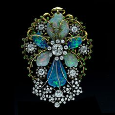 Fabulous Art Nouveau Opal & Diamond Brooch