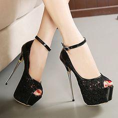 Calçados Femininos Renda Salto Agulha Saltos/Peep Toe/Plataforma Plataformas / Saltos Social Preto/Branco - BRL R$ 136,77