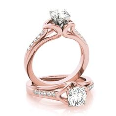Forever One colorless D-F moissanite center with genuine diamond side stones. Rose Gold Diamond Ring, Diamond Wedding Rings, Bridal Rings, Diamond Bands, Leaf Engagement Ring, Dream Engagement Rings, Engagement Ring Settings, Wedding Ring Sets Unique, Emerald Ring Vintage