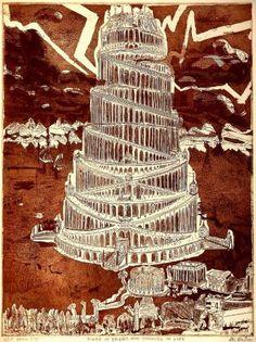 Tower of Babel Printmaking by Jerry Gerard Di Falco Babylon Art, Tarot, Epic Of Gilgamesh, Tower Of Babel, Ancient Mesopotamia, Medium Art, Ciel, Art For Sale, Printmaking