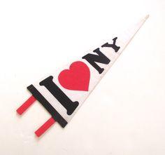 I Love New York, Souvenir Pennant, Vintage Printed Felt Flag by planetalissa on Etsy