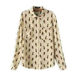 2015 spring and summer women's small animal print cotton long-sleeved shirt blouse women USD$14.40