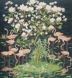 Ceramic Tiles of Flamingoes by Warner Textile Archive (2000mm x 1600mm) | Shop | Surface View