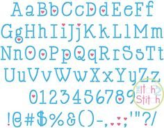 "I2S Cupid De Locke Embroidery Font in sizes 1"", 1.5"", 2"", 2.5"" and 3"", numbers and partial punctuation included"