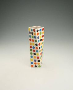 Tall Polka Dot Ceramic Flower Vase Multi Colorful Hurricane