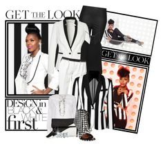 """""""JANELLE MONAE...BLACK AND WHITE FABULOUSNESS"""" by shortyluv718 ❤ liked on Polyvore featuring Topshop, Kookaï, TIBI, Maje, Golden Goose, Blue Nile and Givenchy"""