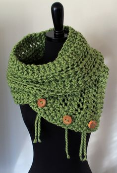 The Eleanor Scarf - Chunky Knit Scarf with Reclaimed Wood Buttons - Grass Green. $65.00, via Etsy. Inspiration