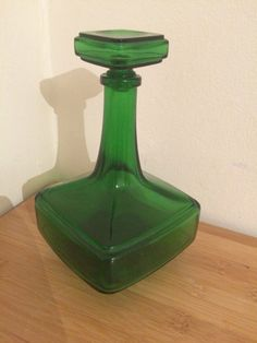 Mid Century Modern green  Art Glass Decanter Bottle by AldoLeo