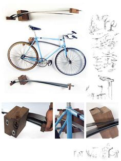Functional Art  wall mounted BICYCLE RACK Holds one by ReBicyclist, $245.00