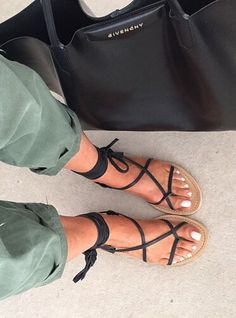 Laced up, wrapped up, flat sandals.