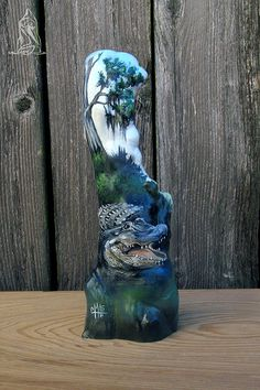 The Waters Nice!- Hand painted Louisiana cypress knee with bayou alligator, cypress tree and Spanish moss. Approx 12 tall with a base. Cypress Knees, Louisiana Art, Pallet Painting, Seashell Art, Gourd Art, Cool Pictures, Art Projects, Art Photography, Sculptures