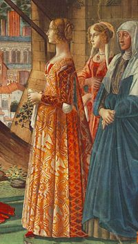 Giovanna Tornabuoni and her attendants in Italian fashion of the 1480s. The tight slashed sleeves reveal the full chemise sleeves beneath. She wears a giornea over a kirtle or gamurra.