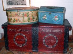 Love this Danish Painted Chest Dated 1806