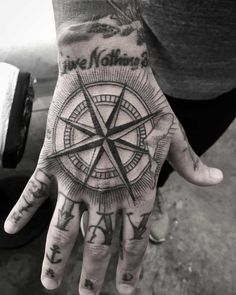 A compass by kristi walls тату hand tattoos for guys, hand t Full Hand Tattoo, Small Hand Tattoos, Hand Tattoos For Women, Hand Tats, Man Hand Tattoo, Rose Hand Tattoo, Traditional Compass Tattoo, Traditional Hand Tattoo, Knuckle Tattoos