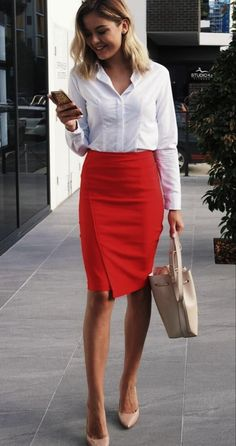 48 Casual Work Outfits For Women with Skirt - Summer Work Outfits Business Casual Dresscode, Business Professional Attire, Business Casual Outfits For Women, Office Outfits Women, Fall Outfits For Work, Casual Work Outfits, Mode Outfits, Business Outfits, Work Casual