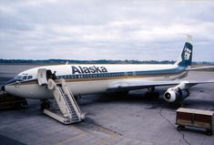 Boeing 707, Alaska Airlines, Airplane, Aviation, Aircraft, Birds, Classic, Vintage, Staircases