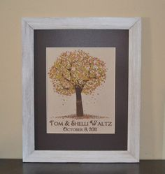Fall Tree with Carved Heart Print with Names by BloomingDoorDecor, $20.00