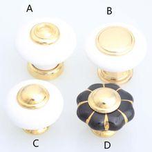 Golden lade knoppen wit zwart keramische keukenkast trekt knoppen moderne mode pompoen porselein furniture knoppen(China (Mainland))