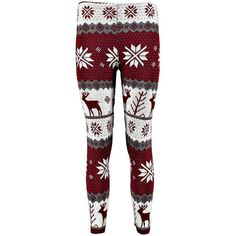 Saskia Reindeer Snowflake Christmas Legging found on Polyvore featuring pants, leggings, bottoms, christmas pants, red trousers, snowflake leggings, snowflake print leggings and red pants